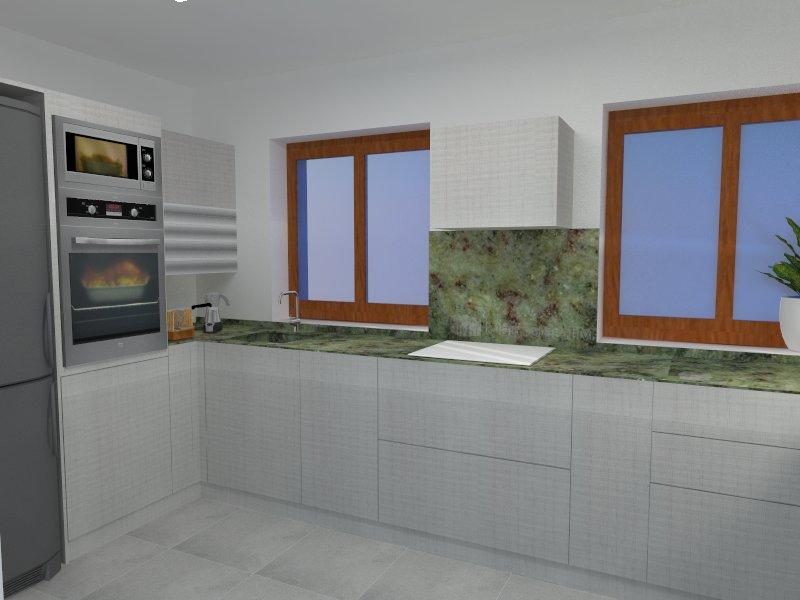 Cocina en Gernika proyecto de interiorismo Passive House perspectiva izquierda